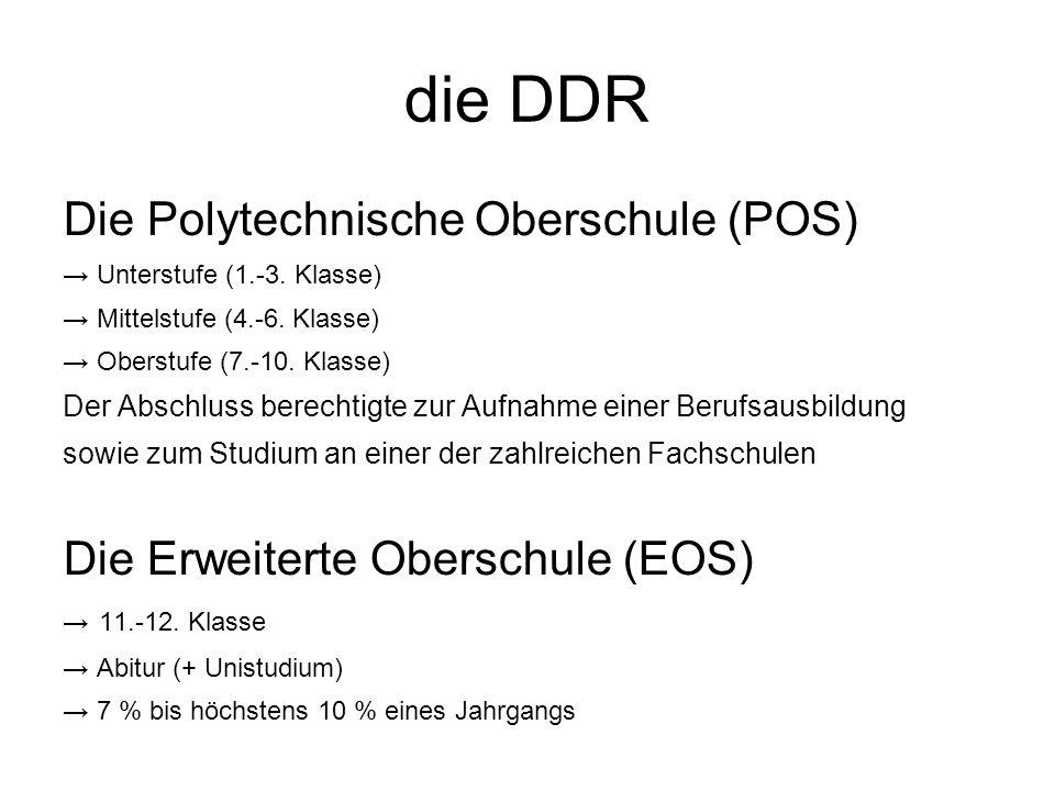 die DDR Die Polytechnische Oberschule (POS)