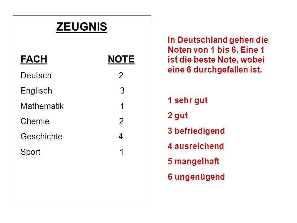 ZEUGNIS FACH NOTE. Deutsch 2. Englisch 3.