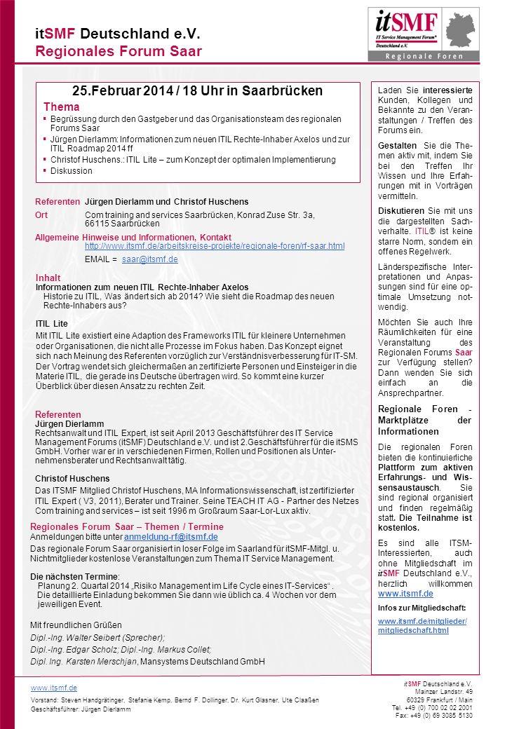 itSMF Deutschland e.V. Regionales Forum Saar