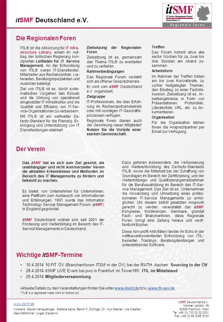 itSMF Deutschland e.V. Die Regionalen Foren Der Verein