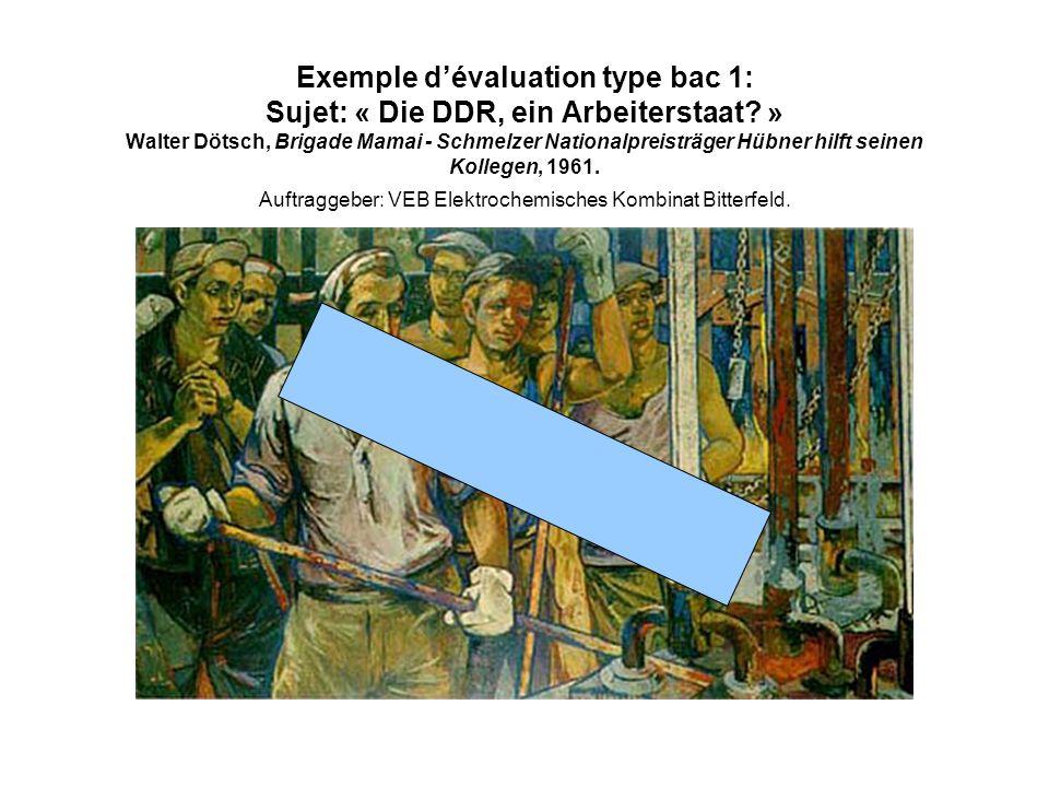 Exemple d'évaluation type bac 1: Sujet: « Die DDR, ein Arbeiterstaat