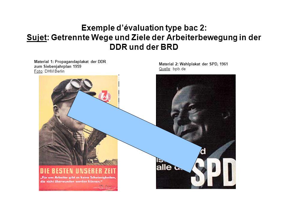 Exemple d'évaluation type bac 2: Sujet: Getrennte Wege und Ziele der Arbeiterbewegung in der DDR und der BRD