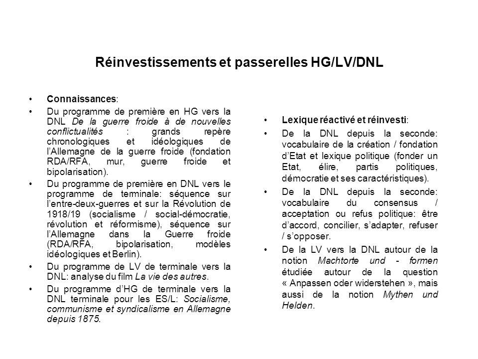 Réinvestissements et passerelles HG/LV/DNL