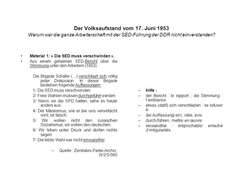 Der Volksaufstand vom 17. Juni 1953 Warum war die ganze Arbeiterschaft mit der SED-Führung der DDR nicht einverstanden