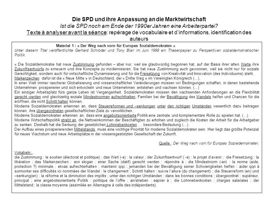 Die SPD und ihre Anpassung an die Marktwirtschaft Ist die SPD noch am Ende der 1990er Jahren eine Arbeiterpartei Texte à analyser avant la séance: repérage de vocabulaire et d'informations, identification des auteurs