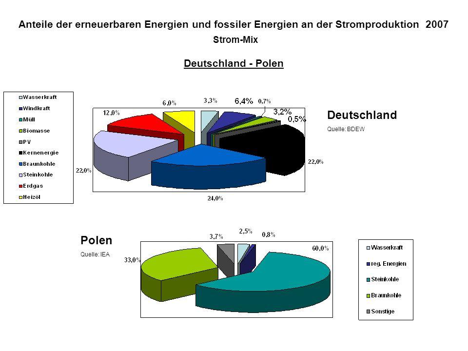 Anteile der erneuerbaren Energien und fossiler Energien an der Stromproduktion 2007 Strom-Mix Deutschland - Polen