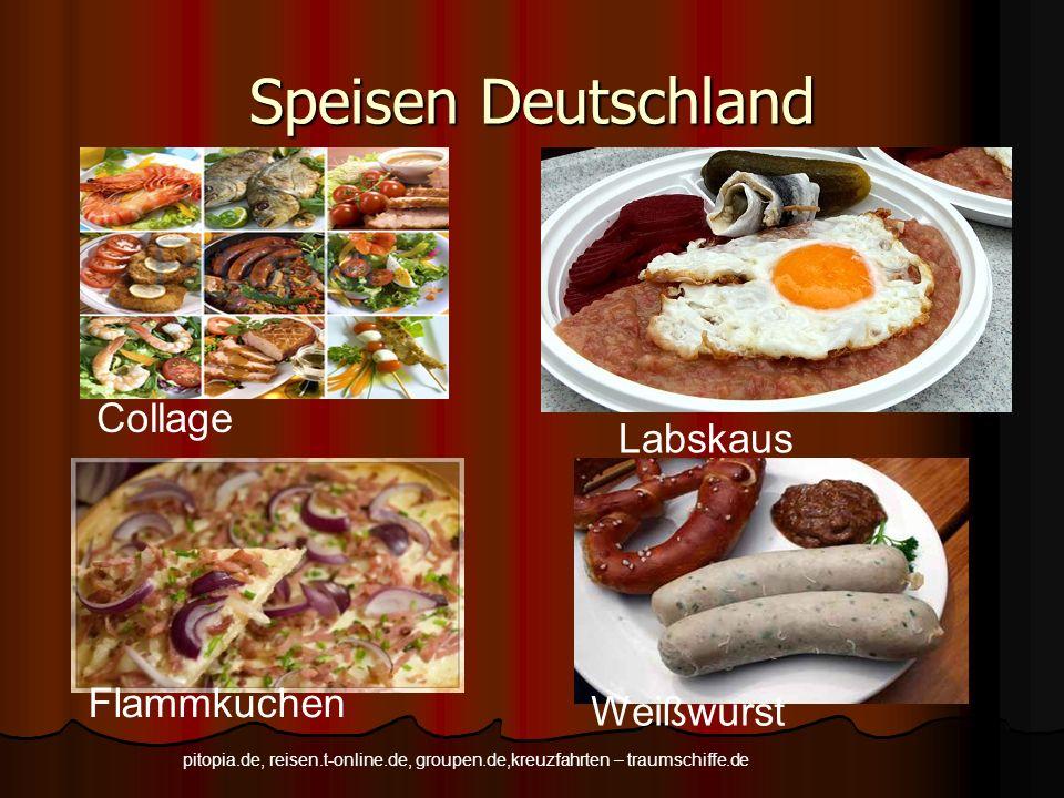 Speisen Deutschland Collage Labskaus Flammkuchen Weißwurst