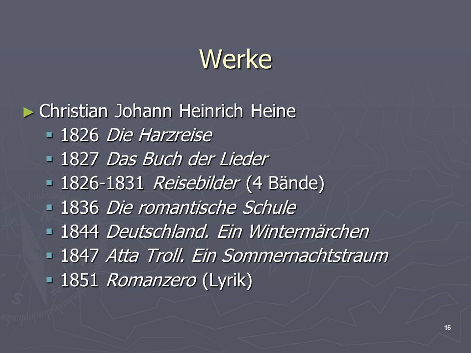Werke Christian Johann Heinrich Heine 1826 Die Harzreise