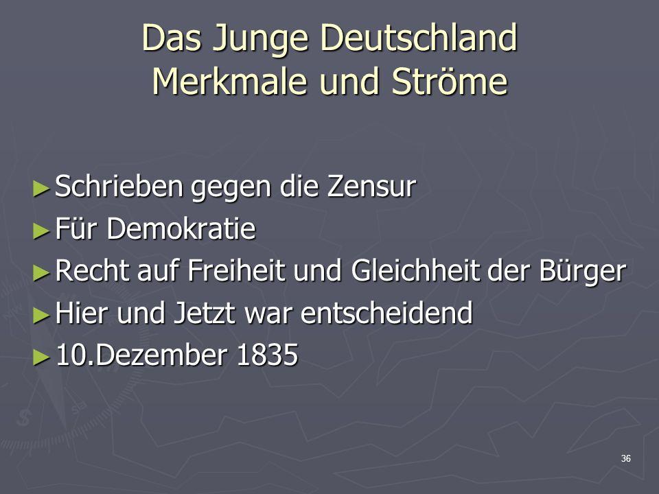 Das Junge Deutschland Merkmale und Ströme