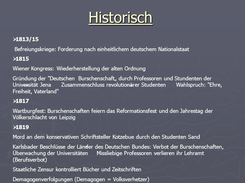 Historisch 1813/15. Befreiungskriege: Forderung nach einheitlichem deutschem Nationalstaat. 1815.
