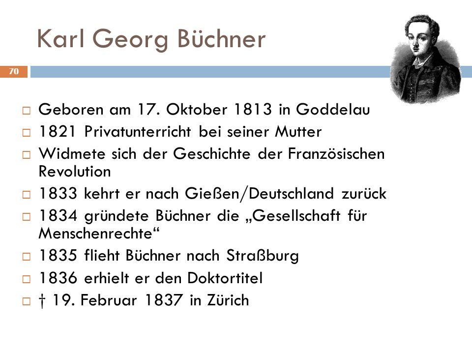 Karl Georg Büchner Geboren am 17. Oktober 1813 in Goddelau