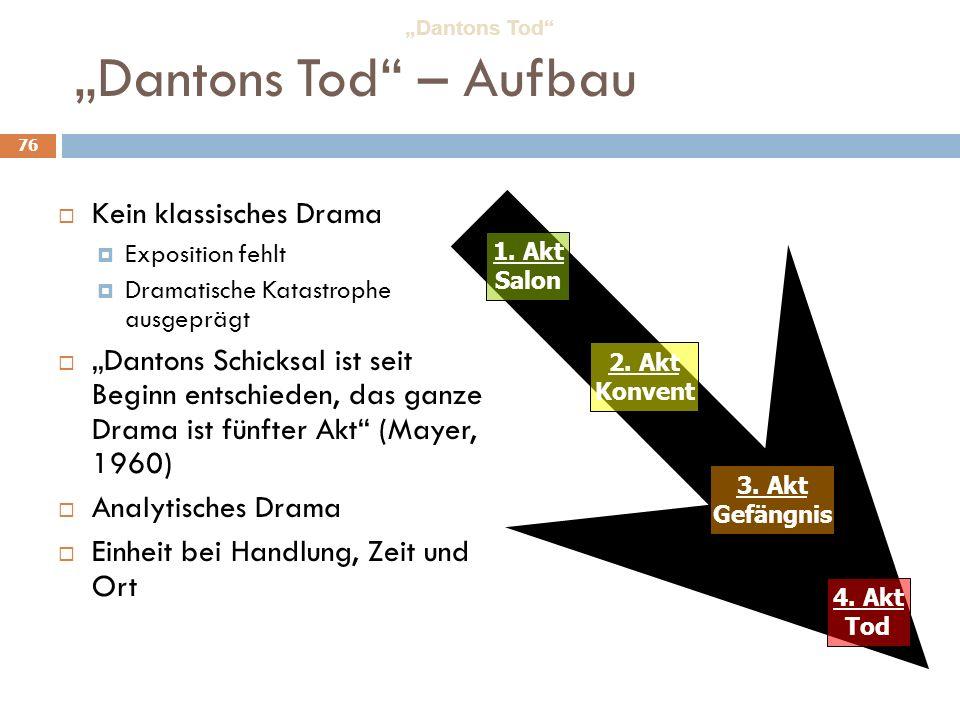 """Dantons Tod – Aufbau Kein klassisches Drama"