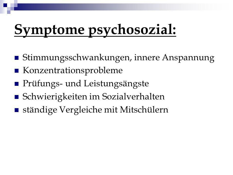 Symptome psychosozial: