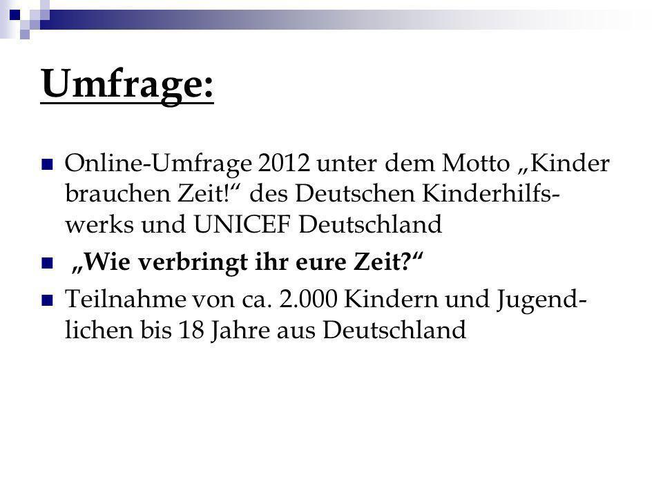 """Umfrage: Online-Umfrage 2012 unter dem Motto """"Kinder brauchen Zeit! des Deutschen Kinderhilfs-werks und UNICEF Deutschland."""