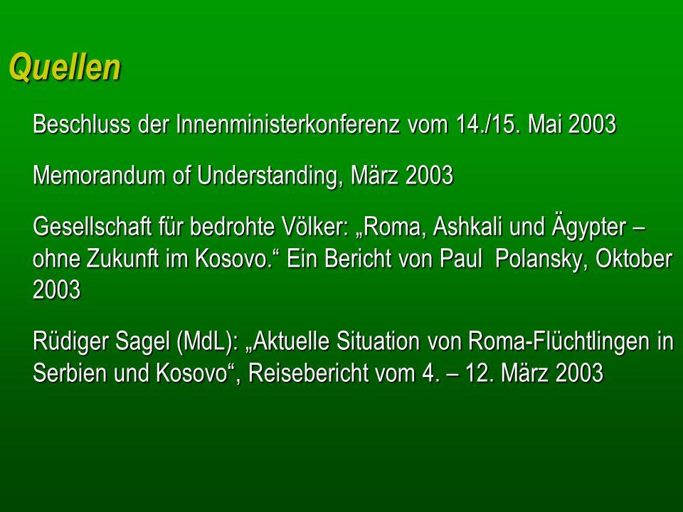 Quellen Beschluss der Innenministerkonferenz vom 14./15. Mai 2003