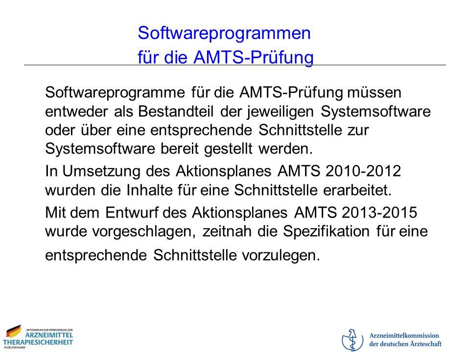 Softwareprogrammen für die AMTS-Prüfung