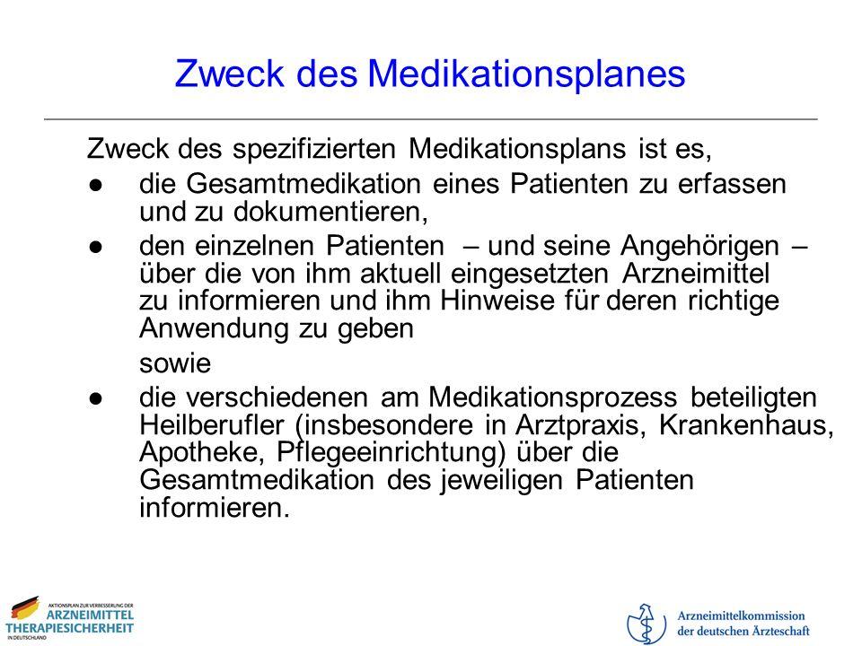 Zweck des Medikationsplanes