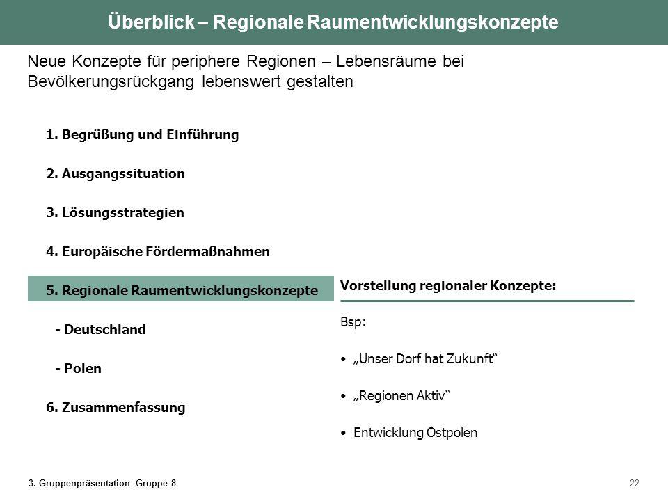 Überblick – Regionale Raumentwicklungskonzepte