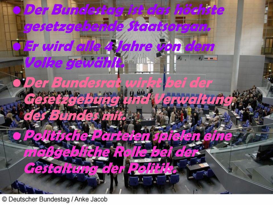 Der Bundestag ist das höchste gesetzgebende Staatsorgan.
