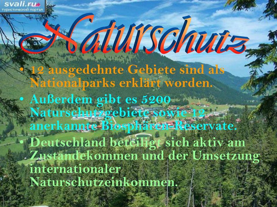 Naturschutz 12 ausgedehnte Gebiete sind als Nationalparks erklärt worden.