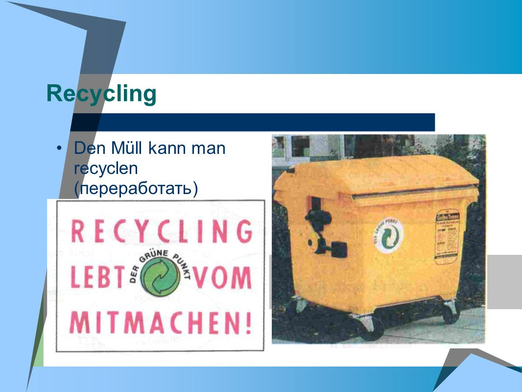 Recycling Den Müll kann man recyclen (переработать)