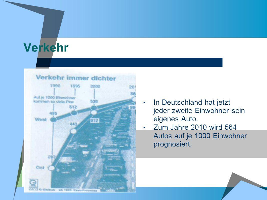 Verkehr In Deutschland hat jetzt jeder zweite Einwohner sein eigenes Auto.