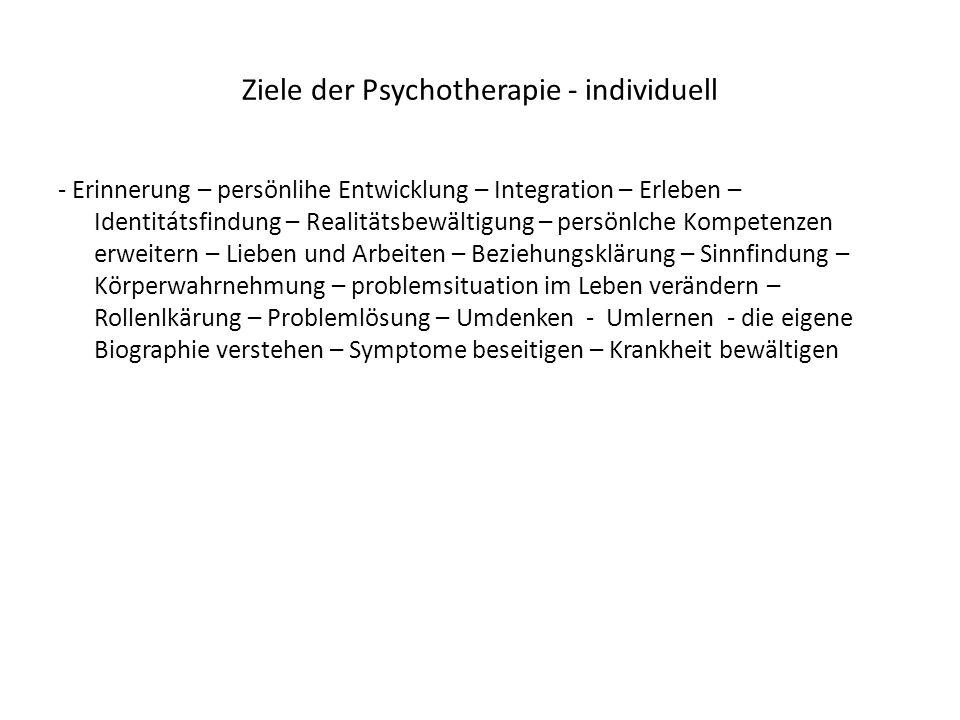 Ziele der Psychotherapie - individuell