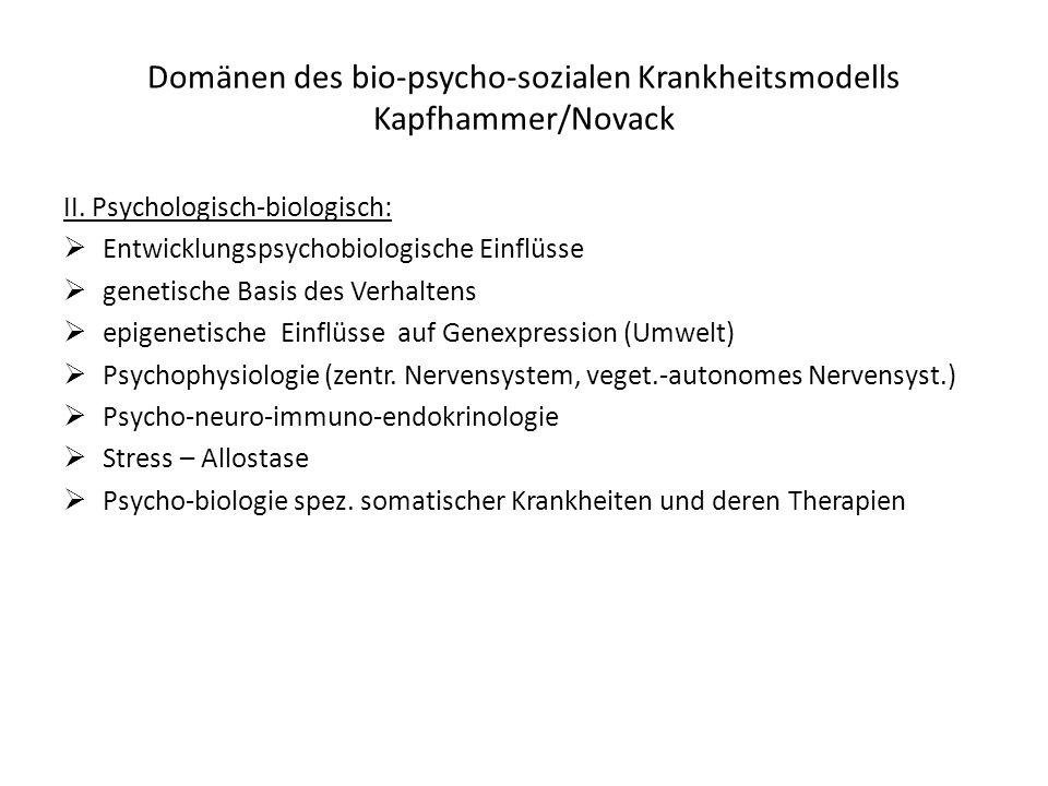 Domänen des bio-psycho-sozialen Krankheitsmodells Kapfhammer/Novack