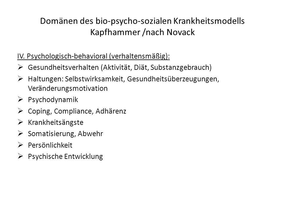 Domänen des bio-psycho-sozialen Krankheitsmodells Kapfhammer /nach Novack