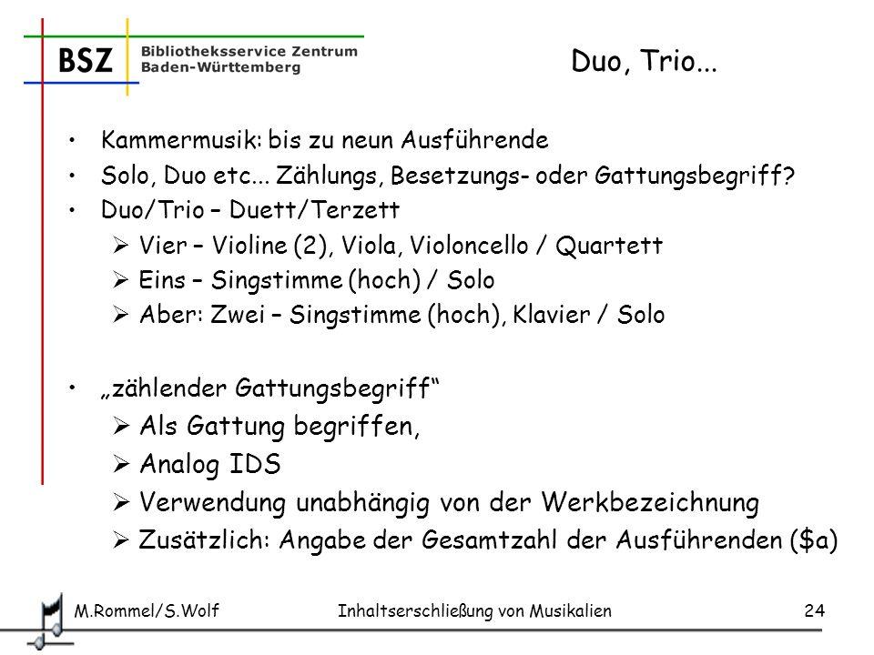 Duo, Trio... Als Gattung begriffen, Analog IDS