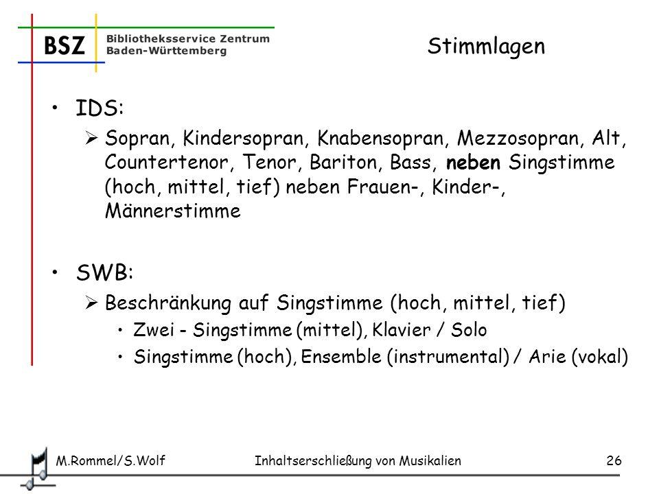 Stimmlagen IDS: