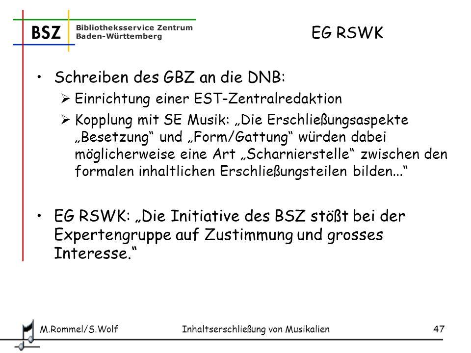 Schreiben des GBZ an die DNB: