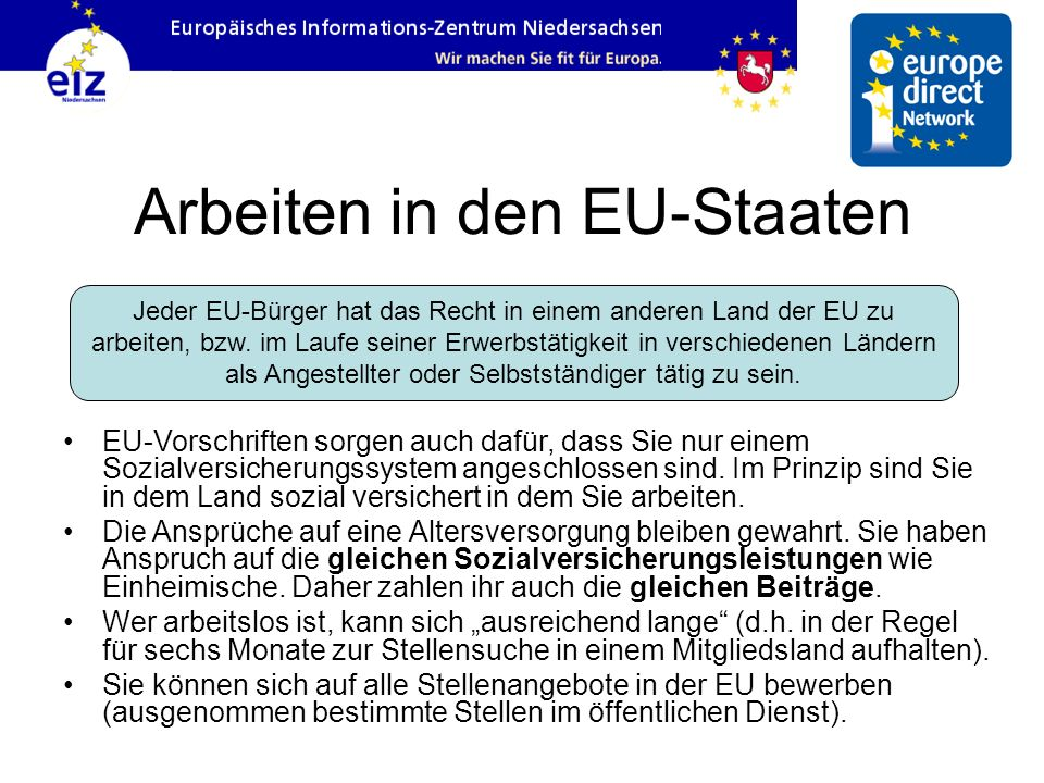 Arbeiten in den EU-Staaten