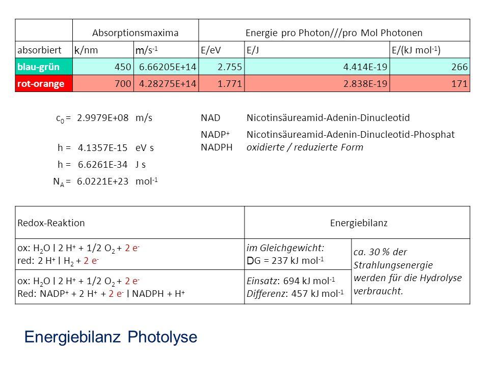 Energie pro Photon///pro Mol Photonen