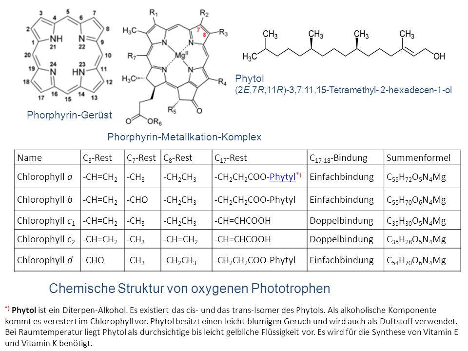 Chemische Struktur von oxygenen Phototrophen