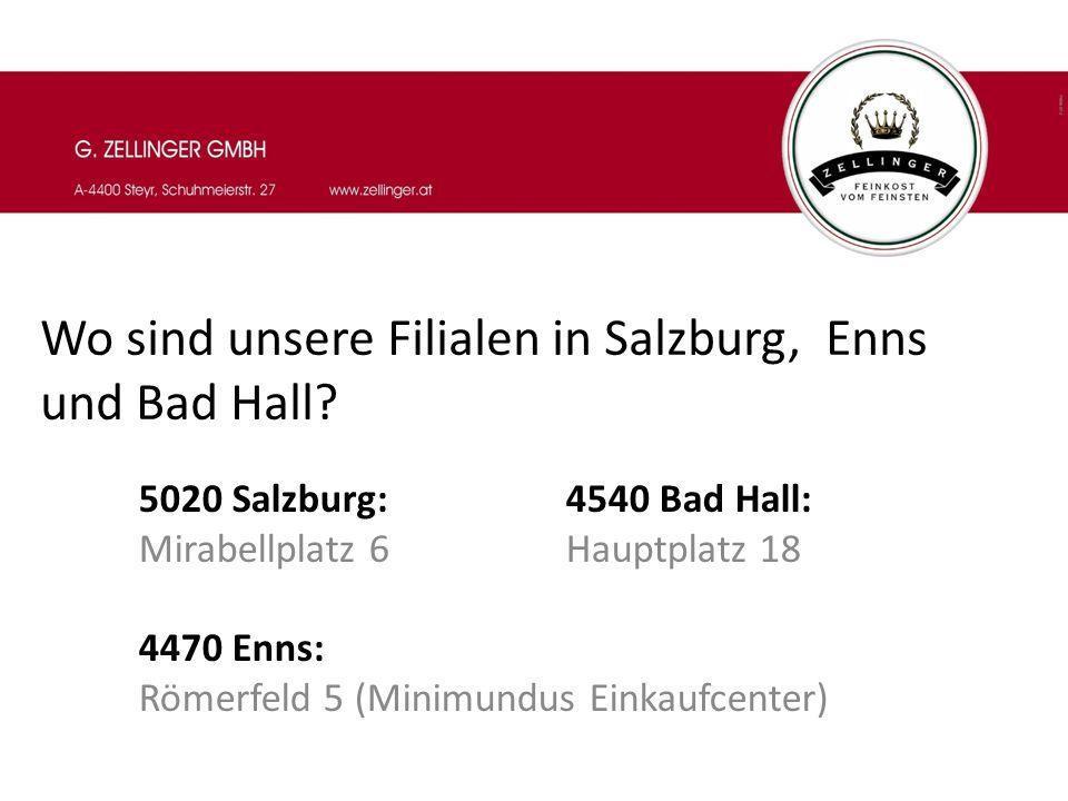 Wo sind unsere Filialen in Salzburg, Enns und Bad Hall