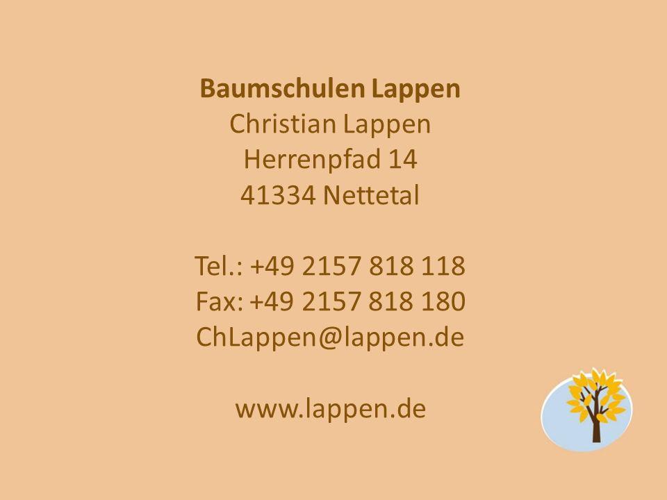 Baumschulen Lappen Christian Lappen Herrenpfad 14 41334 Nettetal Tel