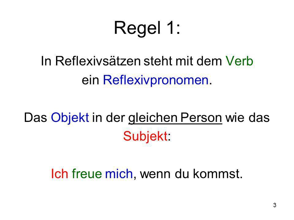 Regel 1: In Reflexivsätzen steht mit dem Verb ein Reflexivpronomen.