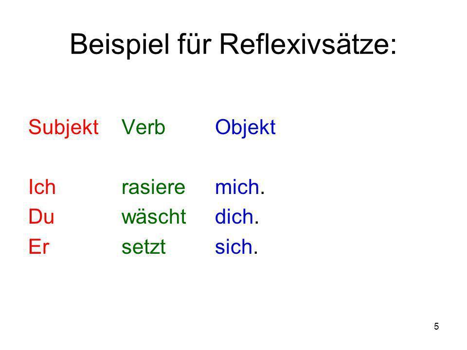 Beispiel für Reflexivsätze: