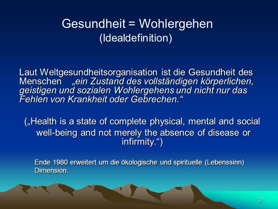 Gesundheit = Wohlergehen (Idealdefinition)