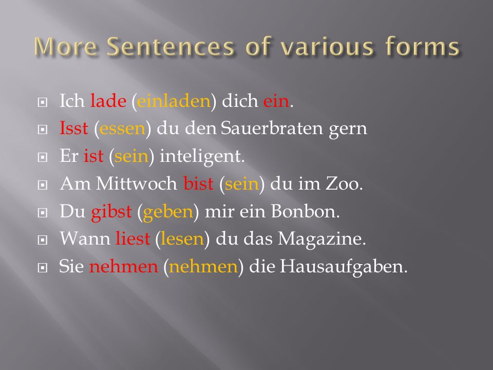 More Sentences of various forms