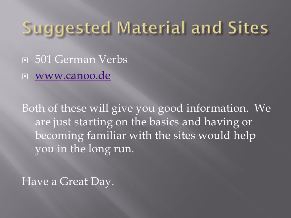 Suggested Material and Sites