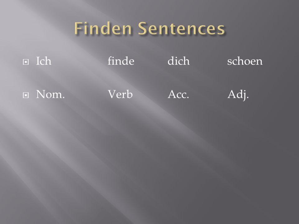 Finden Sentences Ich finde dich schoen Nom. Verb Acc. Adj.