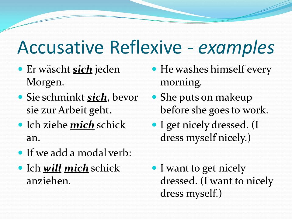 Accusative Reflexive - examples