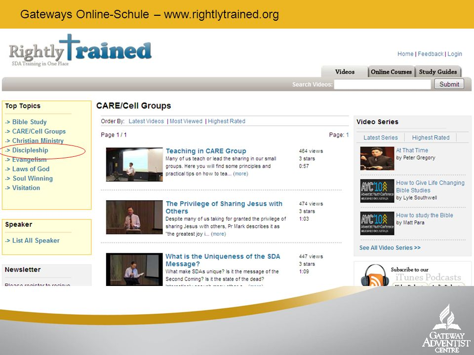 Gateways Online-Schule – www.rightlytrained.org