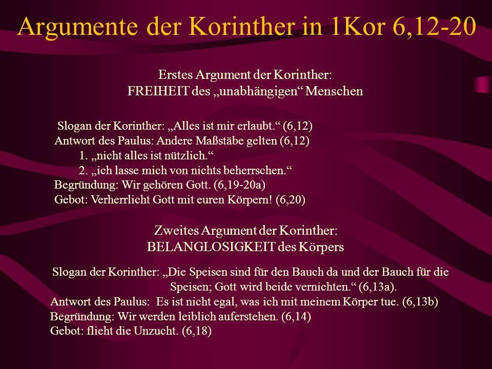 Argumente der Korinther in 1Kor 6,12-20