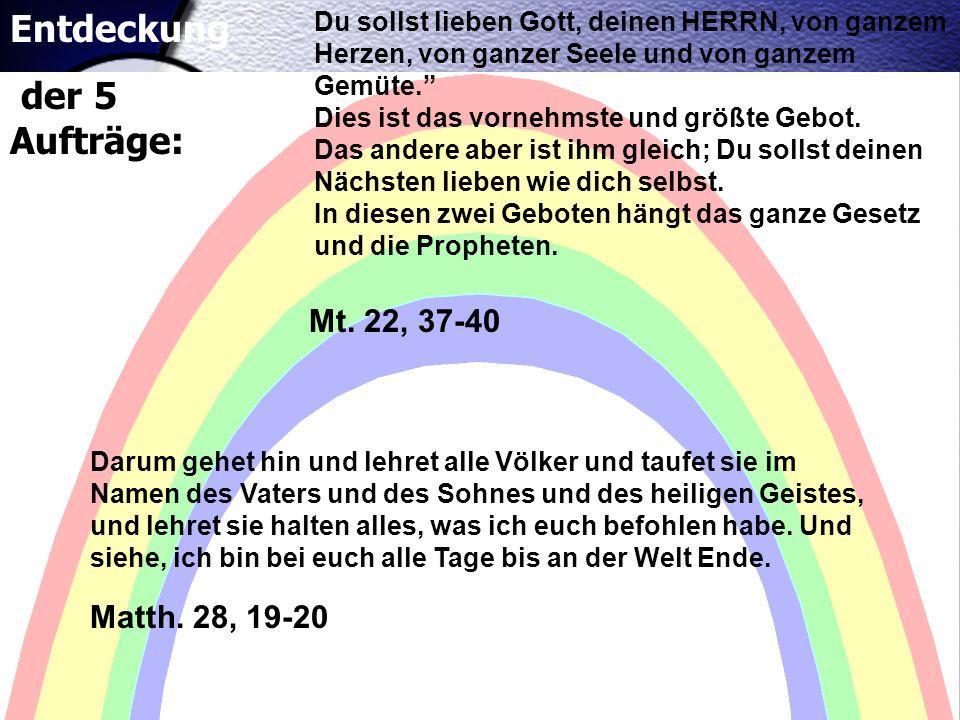 Entdeckung der 5 Aufträge: Mt. 22, 37-40 Matth. 28, 19-20