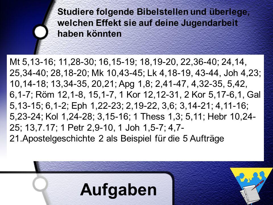 Studiere folgende Bibelstellen und überlege, welchen Effekt sie auf deine Jugendarbeit haben könnten