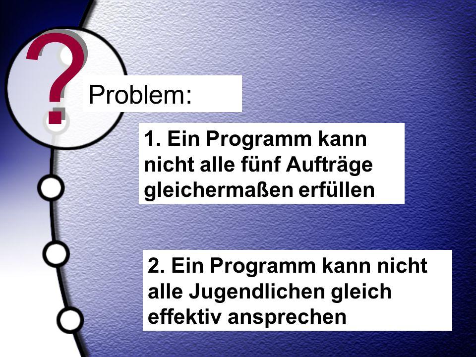 Problem: 1. Ein Programm kann nicht alle fünf Aufträge gleichermaßen erfüllen.
