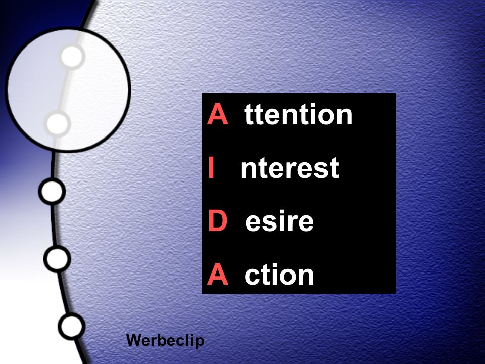 A ttention I nterest D esire A ction Werbeclip